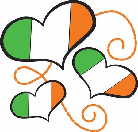 コンコードでアイルランド旗の心の広い範囲のデザインを収集します。
