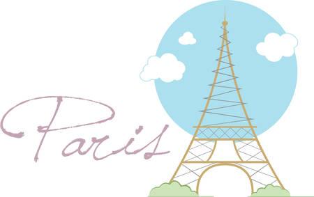 이 에펠 탑 (Eiffel Tower) 디자인으로 파리에 그 멋진 휴가를 기억하십시오. 일러스트