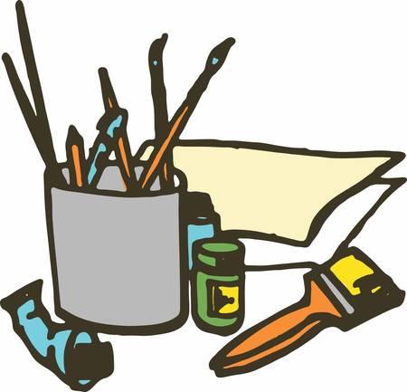 すべてのペイントに必要ないくつかのツールは、少し命令とあなたの心のビジョン。  イラスト・ベクター素材