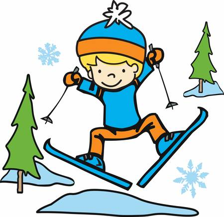 Cute little boy, makes skiing look fun  easy. Pick those designs by concord!