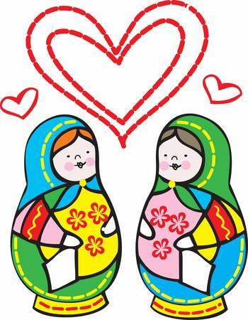 concord: Children enjoy playing with matryoshka doll.Pick those design by Concord. Illustration
