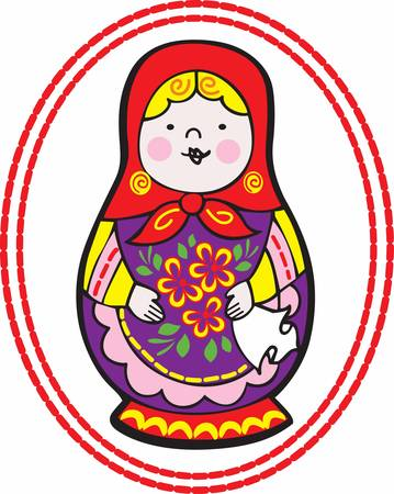 Children enjoy playing with matryoshka doll.Pick those design by Concord. Illustration