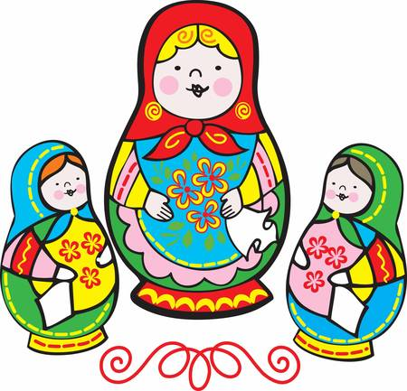 Children enjoy playing with matryoshka doll.Pick those design by Concord. Çizim