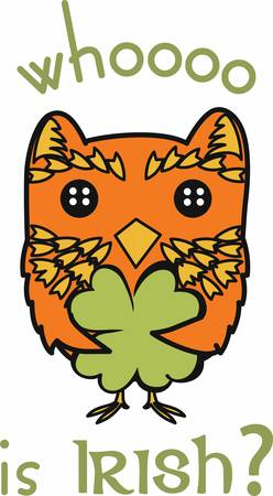 st paddys day: A nocturnal bird of prey with large eyes a facial disc a hooked beak and typically a loud hooting call pick those designs by concord