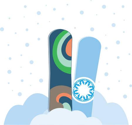 Un tablero parecido a un corto esquí amplio utilizado para deslizarse cuesta abajo en la nieve recoger esos diseños de la concordia Foto de archivo - 41239339