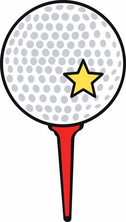 Golf ball with a yellow star on a red tee.