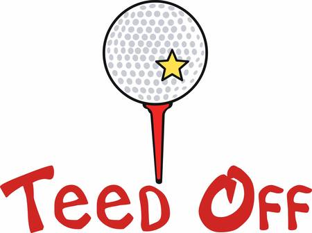 yellow star: Golf ball with a yellow star on a red tee.