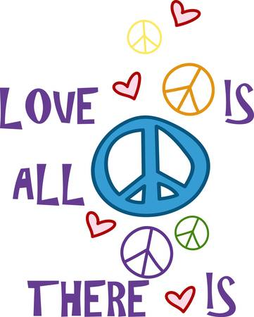infatuation: Peace love and hearts create a fun design.  Colorful and trendy this is a great addition to your projects. Illustration