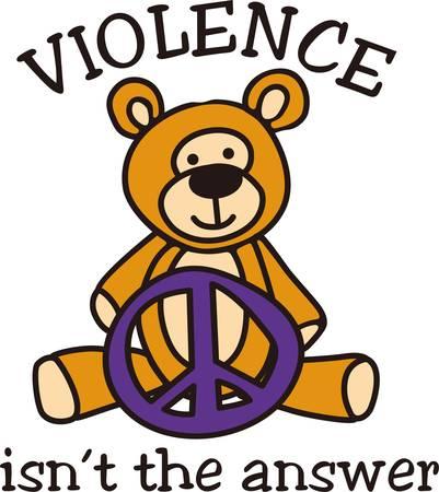 Symbool van de vrede en een teddy komen samen in dit charmante ontwerp. De lachende teddy stuurt een boodschap van geweldloosheid. Stock Illustratie