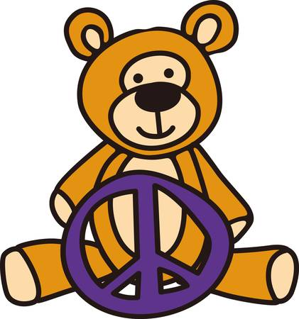 Peace symbol and a teddy come together in this charming design.  The smiling teddy brings wishes of peace.