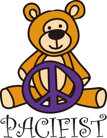 Peace symbol and a teddy come together in this charming design.  The smiling teddy sends a message of nonviolence.