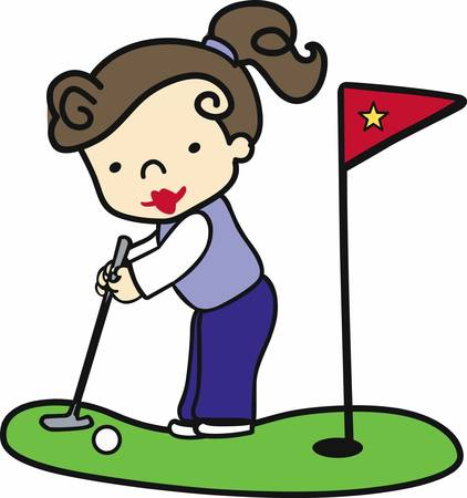 Brunette girl putting princess on the green.