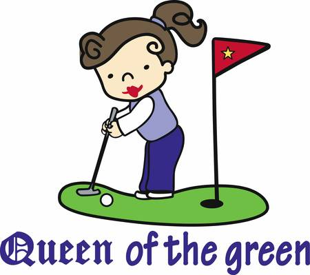 Brunette girl putting queen on the green.