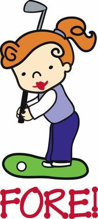 Auburn haired girl swinging an iron on the green. Ilustrace