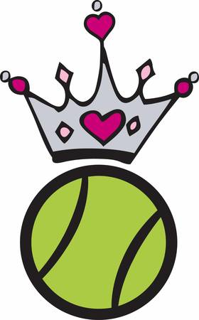 Pink heart crown over a volleyball.