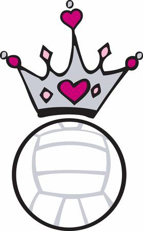 heart with crown: Pink heart crown over a volleyball.