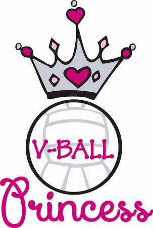 heart and crown: Pink heart crown over a volleyball.