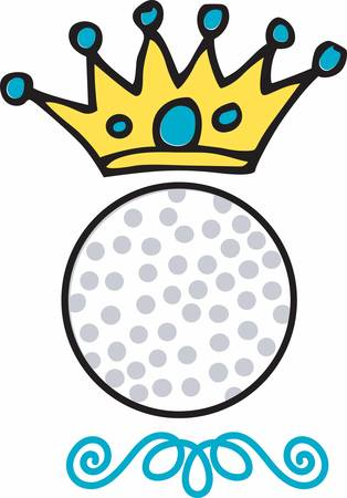 blue circles: Blue circles crown over a golf ball. Illustration