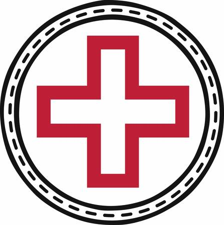 medical attention: The Floral Red Cross  gives those in need hope for rescue or medical attention pick those designs by concord Illustration