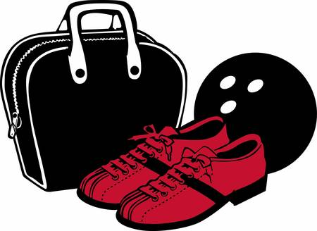 red shoes: Bowling bag ball and red shoes.