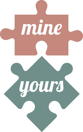 His and hers puzzle pieces make a perfect bridal shower gift. 版權商用圖片 - 41240448