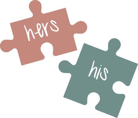 His and hers puzzle pieces make a perfect bridal shower gift.