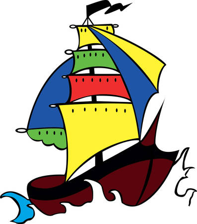 Have these funny pirate boat designs from concord collections Illusztráció