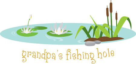 Floating water lilies and cattails scene. Grandpa will love this for their fishing hole. Illustration