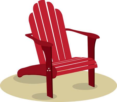 Red wooden Adorondak lounge chair on a sandy beach.