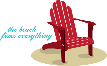 Red wooden Adorondak lounge chair on a sandy beach.