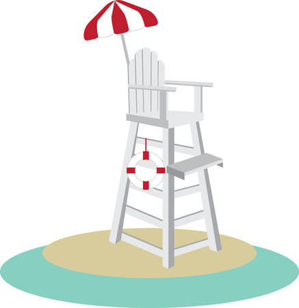 Tall lifeguard chair with a red and white umbrella. Illustration