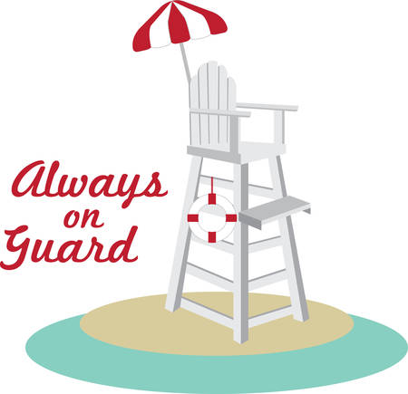 Tall lifeguard chair with a red and white umbrella. 向量圖像