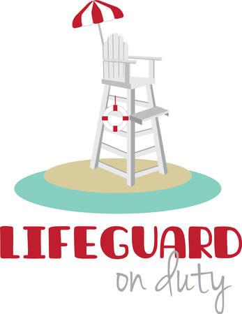 赤と白の傘で背の高いライフガード椅子。  イラスト・ベクター素材