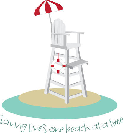 Tall lifeguard chair with a red and white umbrella. Vectores