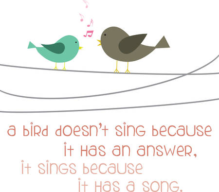 perch: Singing birds on a wire.