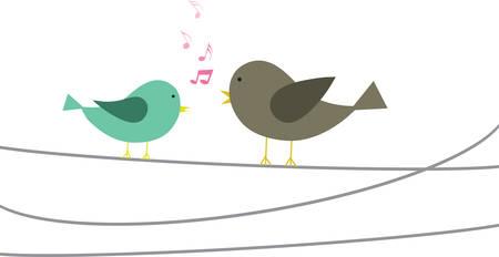 Singende Vögel auf einem Draht. Standard-Bild - 41241324