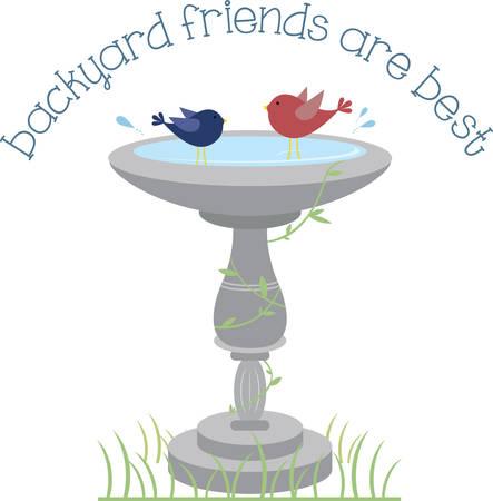 critter: Happy birds splashing in a garden birdbath. Illustration