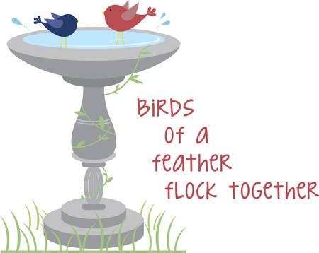 Happy birds splashing in a garden birdbath. Illusztráció