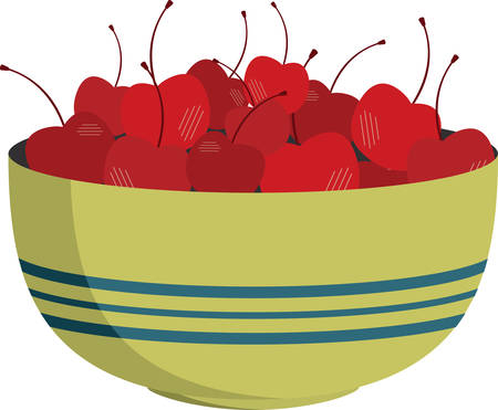 Bowl of shining red cherries for kitchen decorating.