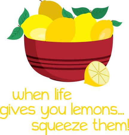 eureka: Bowl of shining lemons for kitchen and cooking enthusiast. Illustration