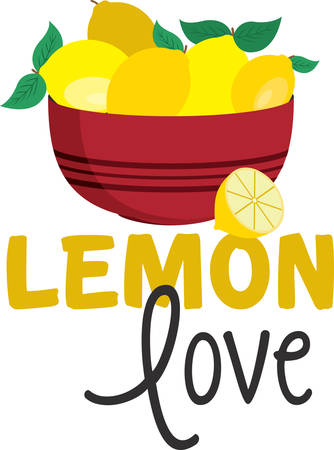 bonnie: Bowl of shining lemons for kitchen and cooking enthusiasts. Illustration