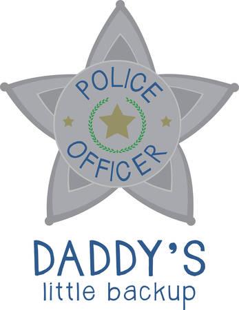 patrolman: Cute police officer star badge for moms and children. Illustration