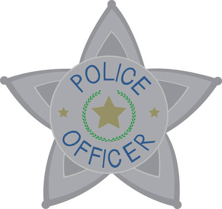 enforcement: Cute police officer star badge for moms and children. Illustration