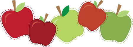 embellishments: Mixed sizes and colors of border of apples.