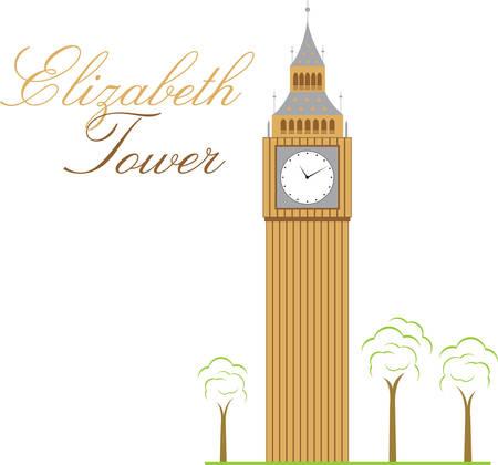 La torre del reloj ampliamente conocido como el Big Ben es que pasará a llamarse la Torre Isabel en honor de la Reina. Escoja los diseños de Concord Foto de archivo - 41241472