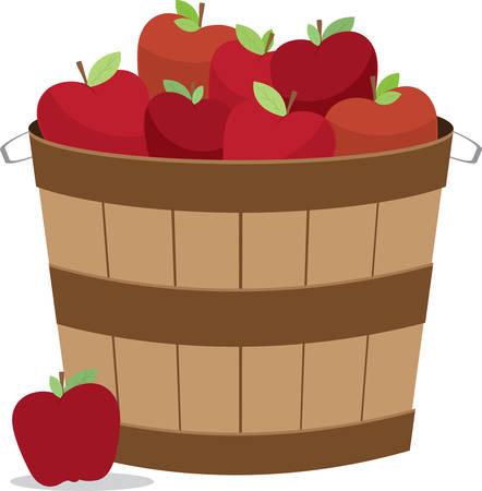 Mandje appels in verschillende formaten en kleuren voor de keuken ontwerpen. Stock Illustratie