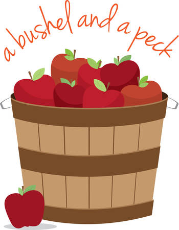 bushel: Basket apples in mixed sizes and colors for kitchen designs.