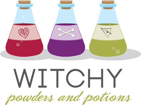 Corked jars of witches brew for Halloween. Иллюстрация