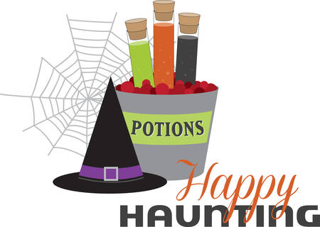 corked: Corked jars of witches brew black hat and spider web for Halloween. Illustration