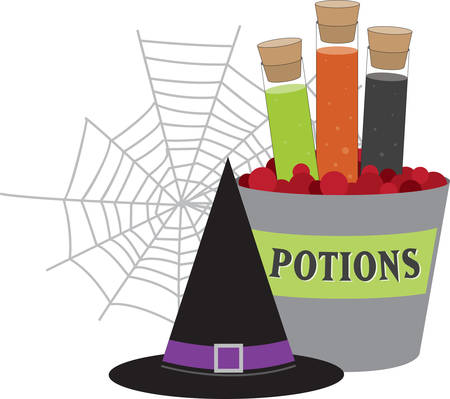 Corked jars of witches brew black hat and spider web for Halloween. Ilustração